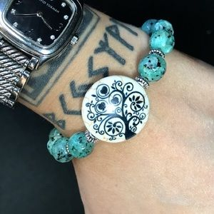 Silverskylight Jewelry - 10mm genuine african turquoise tree of life charm
